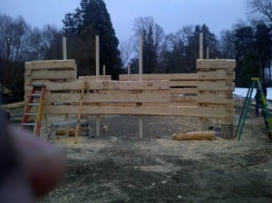 Building a log cabin at Montpelier
