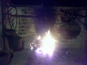 Active Fireplace in the Slave Cabin at Hopsewee Plantation