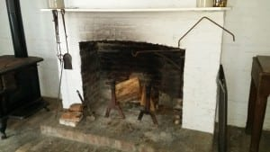 The fireplace in the slave dwelling at Old Alabama Town