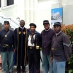 Civil War reenactors and Reverend Clementa Pickney