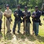 Union and Confederate reenactors at Seashore Farmers Lodge