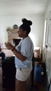 Nicole Moore Inside the Slave Cabin at the Lexington County Museum