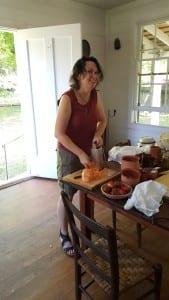 Dr. Jodi Barnes grating potatoes